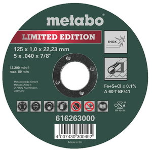 Pjov.disk.metalui 125x1mm Special Edition II Inox, Metabo