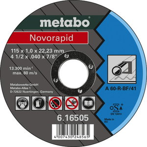 Cutting disc for metal 125x1,0x22,23 mm, TF41, Novorapid, Metabo