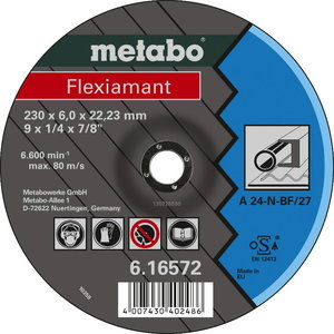 Шлифовальный диск по металлу 125x6x22 A 24-N, METABO