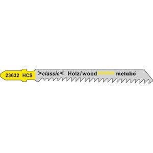 полотно для лобзиковой пилы, дерево 3,0/74 HCS, 5шт., METABO
