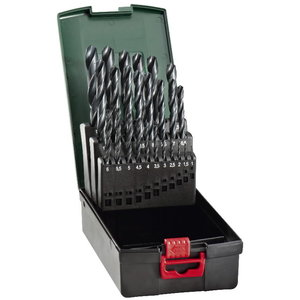 Twist drill set HSS-R, 25 pcs, 1-13 mm, Metabo