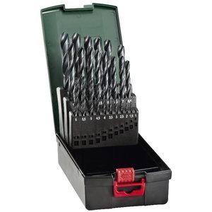 Twist drill set HSS-R, 25 pcs, 1-13 mm, Metabo
