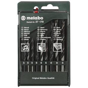 Смешанный комплект свёрл из 9 частей по дереву/металлу/бетону, METABO