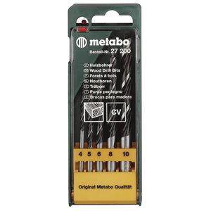 Сверло по дереву в комплекте 4-10мм, 5 частей, METABO