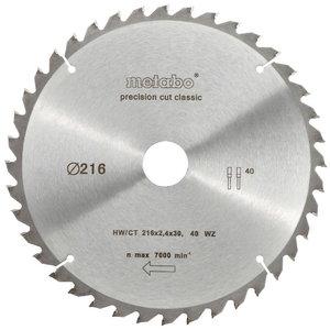 Sawblade 216x2,4/1,8x30mm, z40, WZ, -5°, Classic, Metabo