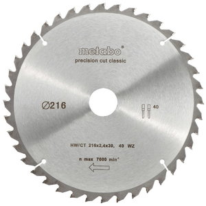 Pjovimo diskas 216x1,8/1,2x30, z40, WZ, 5°, Metabo