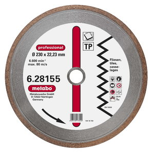 Diamond cutting disc 230x22,23 mm, professional, TP, Metabo