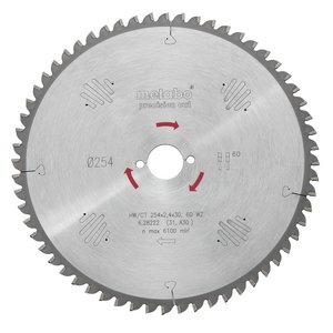 Pjovimo diskas 254x2,4/1,8x30, z60, WZ, -5°. Precision cut, Metabo