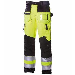 Tööpüksid ripptaskutega 6310 kõrgnähtav CL2, kollane/must 50