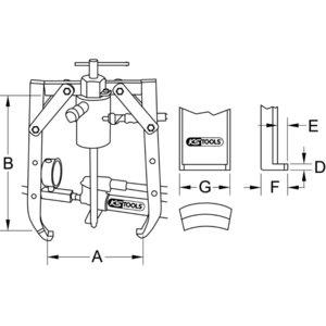 Universal 2 arm puller, 20 t, KS Tools