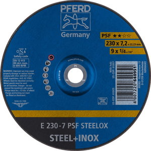 Grinding wheel PSF STEELOX 230x7mm, Pferd