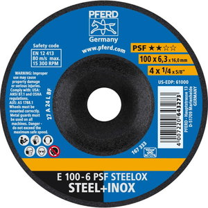metāla slīpdisks 100x6mm A 24 L PSF 16,0 E, Pferd