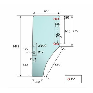 GRANIT Door screen LH JD ER047314, Granit