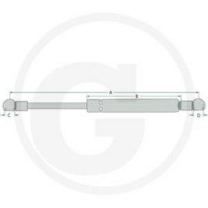 Stabilus Gas strut A-900mm, B-455mm, C-10mm, D-10mm, Granit