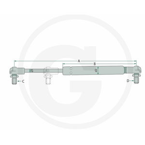 Gas strut STABILUS 255/135/8/8 250N, Granit