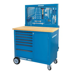 Workbench with tool panel and hooks, Gedore