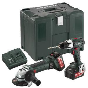 18V Combo set: Drill BS 18 LT + Angle grinder W 18 LTX, Metabo