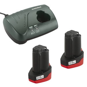 Basic set: 2 x 2.0 Ah (10,8V) + charger LC 40, Metabo