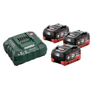 Basic set: 3 x 5.5 Ah LiHD batteries + ASC 30-36V charger, Metabo