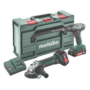 18V Combo: Drill BS 18 + Angle grinder W 18 LTX Q MetaBOX165, Metabo