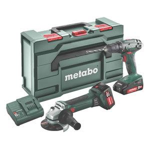 18V Combo:akutrell BS 18 + nurklihvija W 18 LTX Q MetaBOX165, Metabo