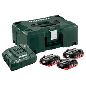 Basic set: 3 x 4.0 Ah LiHD + charger ASC 55 + Metaloc, Metabo