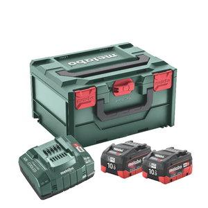 Akumulatori 2 x 10,0 Ah LiHD + ASC 145 lādētājs + MetaBOX215, Metabo
