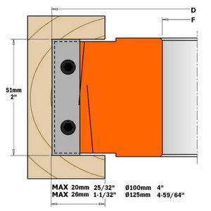 CUTTER HEAD WITH LIMITORS D=100X40X30 (ALU), CMT