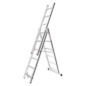 Kombinētās kāpnes 3x6 pakāpieni, 1,75/3,71m 70047, Alu-Pro