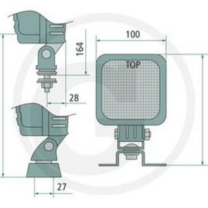 LED work light 27W 9LED, 1200lm, IP68, 12-32V, Granit