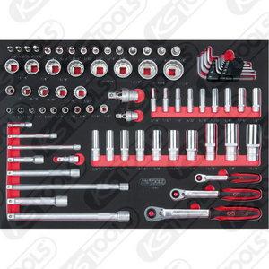 Padrun kmpl 1/4´´+3/8´´+1/2´´,  80-osa 1/1 moodulis, KS Tools