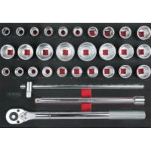 """3/4"""" muciņu komplekts, 31 gab. 1/1 sistēmas ieliktnis, KS Tools"""
