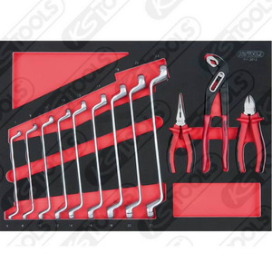 SCS Spanner- and pliers set, 12 pcs, 1/1 system insert, KS Tools