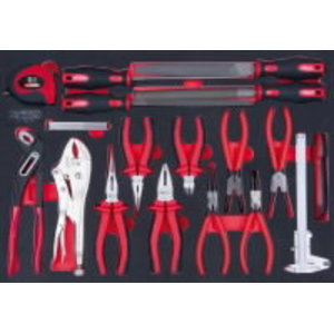 SCS Pliers and file set, 18 pcs, 1/1 system insert, KS Tools