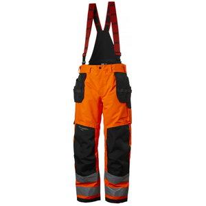 Kõrgnähtavad talvepüksid  Alna CL2 traksidega, oranž/must C50, Helly Hansen WorkWear