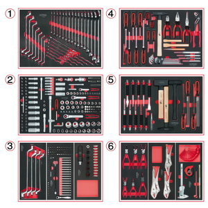 Įrankių komplektas 404 dalių su 6 stalčių moduliais, KS Tools