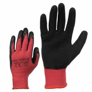 Gloves, knitted nylon glove with black latex 11