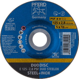 DuoDisc cutting and grinding wheel 125x2, 8 A46P PSF INOX, Pferd