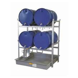 Drum rack type 800 w. barrel support 4x200L, collection tray, Cemo