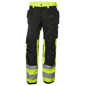 Kõrgnähtavad ripptaskutega tööpüksid Alna CL1, kollane/must