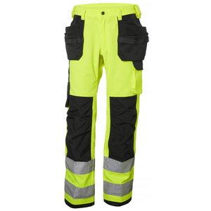 Kõrgnähtavad ripptaskutega tööpüksid Alna CL2, kollane/must