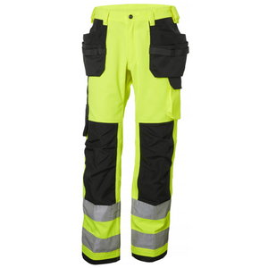 Tööpüksid ripptaskutega Alna kõrgnähtav CL2, kollane/must C52, Helly Hansen WorkWear