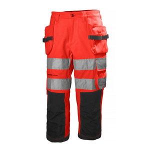Tööpüksid lühikesed Alna, kõrgnähtav CL1, punane/tumehall C44, Helly Hansen WorkWear
