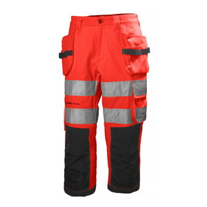 Tööpüksid lühikesed Alna, kõrgnähtav CL2, punane/tumehall C52, , Helly Hansen WorkWear