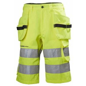 Tööpüksid lühikesed Alna, kõrgnähtav CL2, kollane/must, Helly Hansen WorkWear