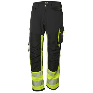 Kõrgnähtavad tööpüksid ripptaskutega Icu CL1, kollane/must C52, Helly Hansen WorkWear