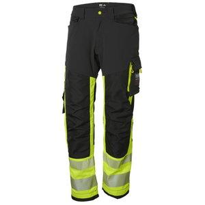 Kõrgnähtavad tööpüksid ripptaskutega Icu CL1, kollane/must C C56, Helly Hansen WorkWear