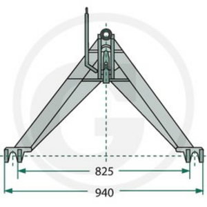 Traktora trīstūris A-frame CAT 2, Granit