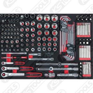 "Chrome  1/4"", 3/8"" ir 1/2"" galvučių kompl. 3/3 modulis, KS tools"