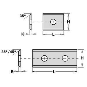 HW-HC REPLACEABLE KNIFE (2 CUTTING EDGES 35°)   7.65X12X1.5M, CMT